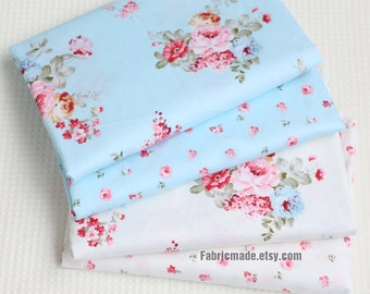 Pink Rose Flower Fabric, Light Blue Ivory Cream Cotton Fabric With Shabby Chic Rose Flower - 1/2 Yard