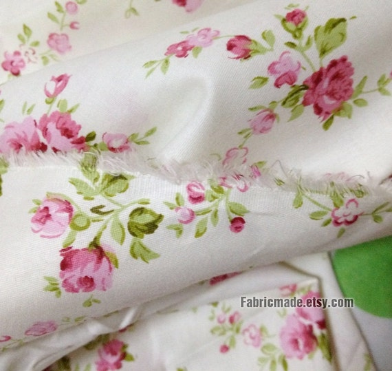 Sale -Floral Fabric/ Cotton Fabric/ Shabby chic/ Little PInk Rose Flower On White Cotton - 1/2 Yard