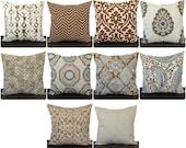 Pillow, Throw Pillow, Pillow Cover, Cushion, Decorative Pillow, Caramel Brown Cream Gray geometric contemporary modern decor