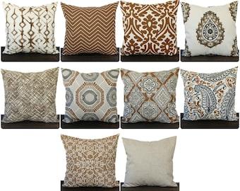 Pillow, Throw Pillow, Pillow Cover, Cushion, Decorative Pillow, Caramel Brown Cream Gray contemporary geometric modern decor