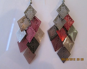 Layered Dangle Earrings with Silver and Red Color Thin Aluminum Beads