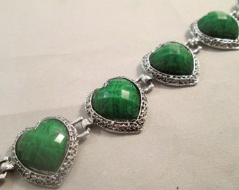 Silver and Green Link Heart Bracelet