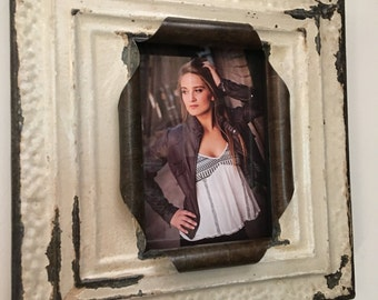 5 x 7 distressed white, tan, and metal antique tin ceiling tile picture frame
