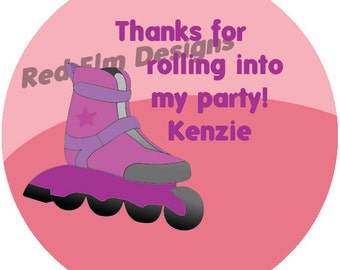 "Girl Rollerblade Stickers Personalized- Sheet of 20 - 2"" round.  Roller Skate Birthday Party Favors.  2 Inch Rollerblade Skate Stickers"