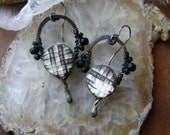 White Sand Beckons, assemblage earrings, artisan hoop earrings, torch fired enamel, ceramic beads, white and black, plaid,  AnvilArtifacts