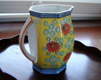 Vintage pitcher small Nagota Japan handpainted yellow and blue with orange and green flowers flush handle French Country