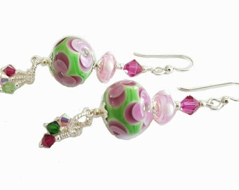 Bright green with pink and red flower lampwork bead earrings, ruby red, green, pink Swarovski Crystals, Sterling Silver beads and ear wires