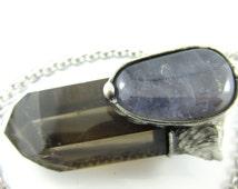 the sky dreamer - smoky quartz crystal pendant with iolite