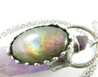RESERVED andromeda- purple labradorite, scapolite & amethyst crystal - raw crystal pendant