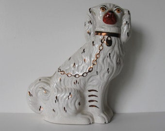 """SALE, Large Vintage Stafforshire Ware Kent ceramic dog, Made in England, white and bronze, 9"""", English Country, crackle finish, gift idea"""