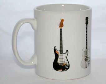 Jimi Hendrix Guitar Mug. 5 famous Guitars. Fender and Gibson.