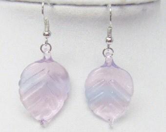 Pink w/Blue Tint Leaf Glass Earrings
