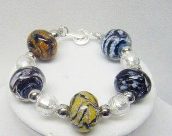 Chunky Multi Colors Donut Lamp Work Glass Bead Bracelet