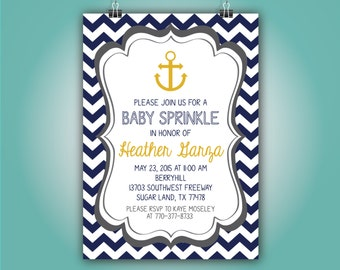 Anchor Chevron Navy and Gold Baby Shower Invitation, 5x7