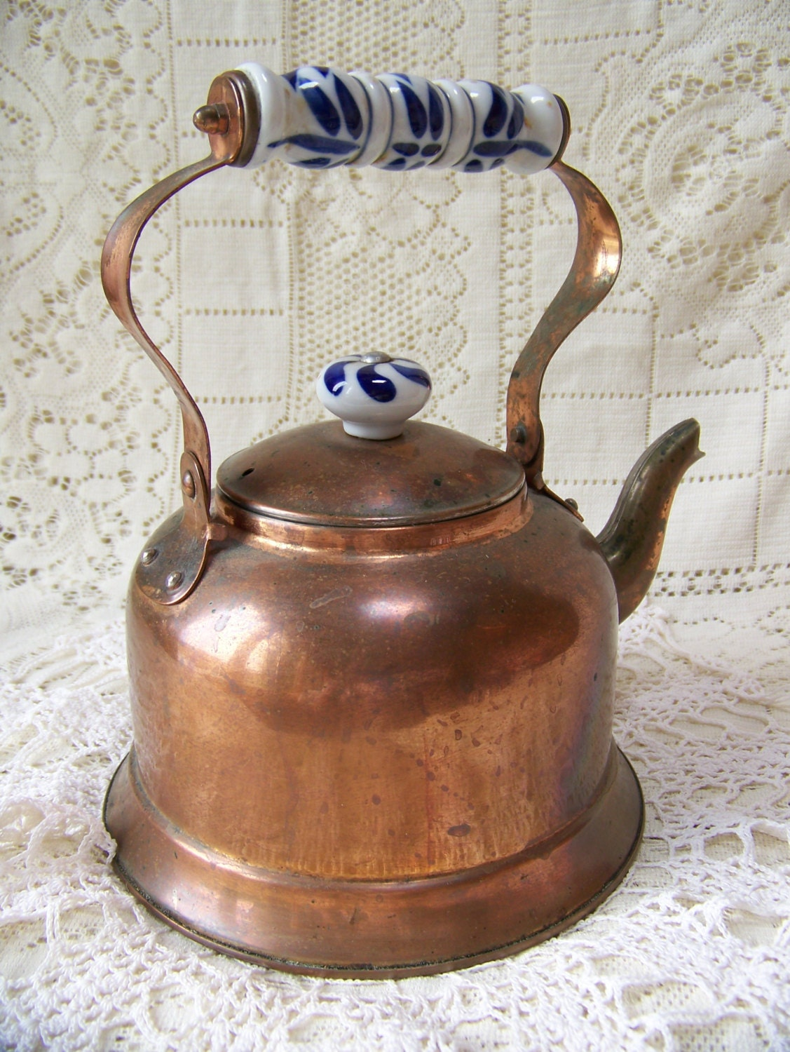 Vintage Copper Tea Kettle With Blue And White Porcelain Handle