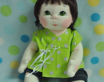 "SALE! Fretta's OOAK Little Darling Baby. 38 cm / 15"" Soft Sculpture Baby Girl, Child Friendly Cloth Doll."