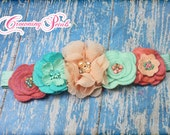 Aqua, Coral Pink, Peach, Turquoise Headband, M2M Matilda Jane Friends Forever, Nan Dress Hair Accessory, Naila Tunic Hair Clip, Infant Hair