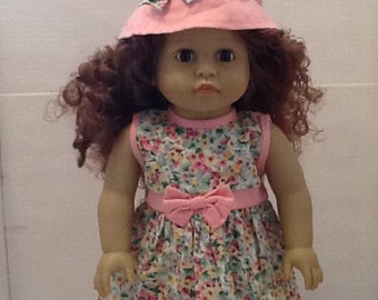 18 in Doll Pink Flowered Dress with Hat