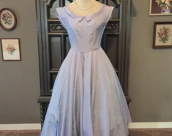 50s Classic Blue Taffeta Party Dress Uniquely Pleated Skirting