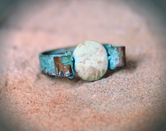 Aged Copper Worry Ring
