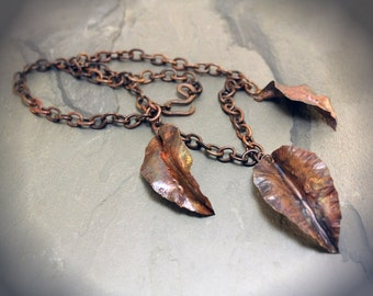 Autum Leaves Hand Forged Copper Necklace