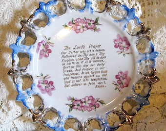 Vintage Ceramic Plate The Lord's Prayer, Cut Outs, Made in Japan 1950's, Pink Flowers Blue Trim, Victorian, Traditional, RosesAndButterflies