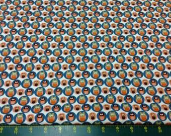 Woodland Animals Owls Orange Green Fat Quarter Fabric Material FF70/3