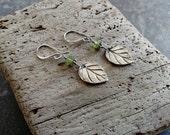 Fine Silver and Genuine Peridot Earrings