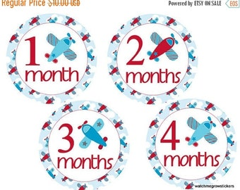 Sale Boy Monthly Stickers Airplanes Month Stickers Baby Milestone Stickers Baby Monthly Stickers Boy Stickers