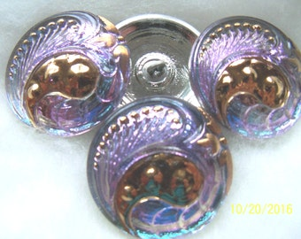 Czech  Glass Buttons 4 pcs    GORGEOUS with 24K gold   27mm     IVA   L 075