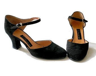 70s french  MARY JANESy us7.5  fr39 black suede leather