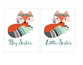 Big Sister / Little Sister Iron On Heat Transfer Tribal Fox ..Your Choice DIY T Shirt Transfers