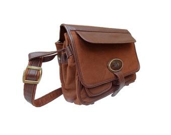 80's brown box bag / French shoulder bag / Travel, case handbag.
