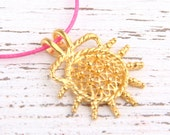Ethnic, Hittite Sun Pendant, Gold Plated, 1 piece // GP-452