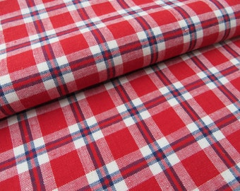 Unused  Antique Cottage Check Checked     Pillowcase Pillow Case  Pillow Sham  Bag Red  Blue White  Linen Upholstery Plaid Kelsch Fabric