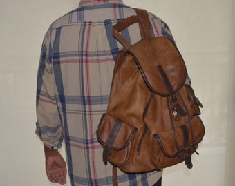 Vintage Back Pack, Unisex Brown Back Pack, Leather Bookbag, Large Bookbag, Leather Back Pack, Vintage Bookbag, Brown Bag, Men's Bag