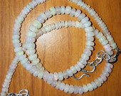 """Nice 42cts Milky White Natural ETHIOPIAN OPALS Polished Rondelle Beads 15"""" Necklace with Free Gift Free Shipping And 10% Off At Checkout"""