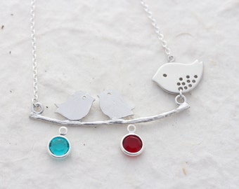 Family Lovebirds necklace, Silver Lovebirds family with custom Birthstones, Silver Necklace, Mother's Necklace. 4 birthstone or 4 babies.