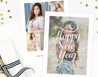 New Years Studio Greeting Card, Happy New Year Photo Card Template, Photography Marketing Templates, Holiday Card Templates NY101