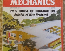 Vintage Magazine - Popular Mechanics Magazine, September 1961, 48 Pages House of Imagination, Vintage Ads