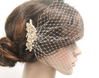 Gold Birdcage veil.Wedding fascinators birdcage veil ivory,Bridal birdcage veil,French birdcage veil,Wedding veil,Bridal headpiece birdcage