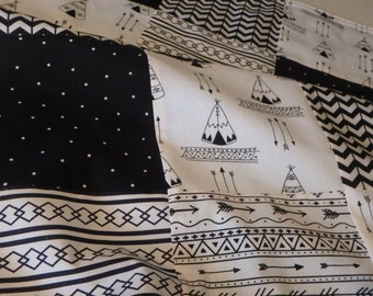 Black and White Tribal Patchwork Baby Minky Blanket or Quilt