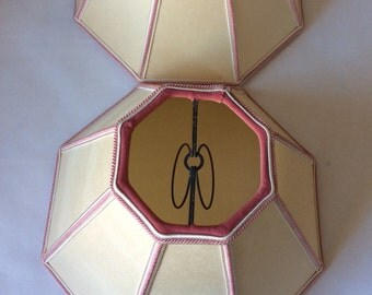 Pair, Sturdy Vintage Octagonal Lamp Shades Sue Johnson Studio, Beautiful