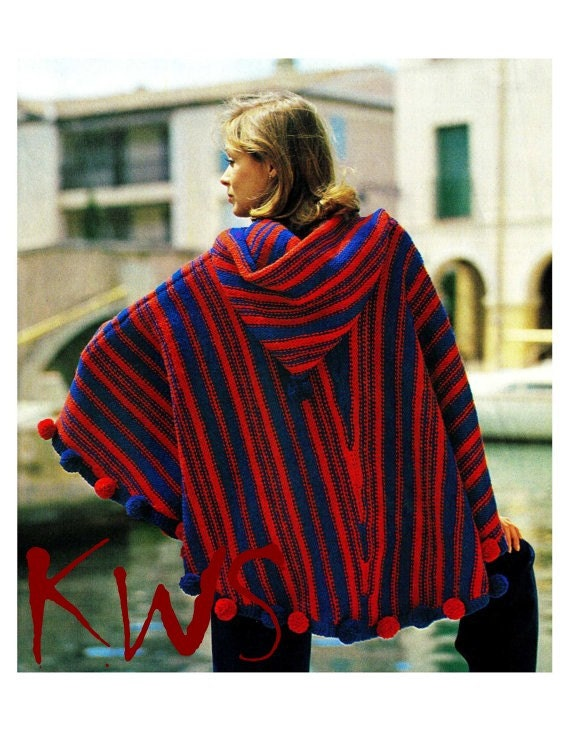 Mens Hooded Poncho Knitting Pattern : Vintage Knit 70s Knitted HOODED Poncho PDF