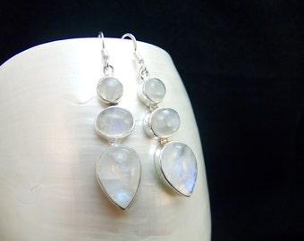 Rainbow Moonstone Sterling Silver Drop Earrings