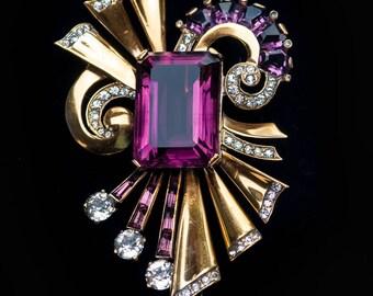 Mazer Sterling HUGE Brooch Pin Amethyst Purple