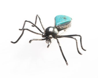Vintage Native American Sterling & Turquoise Bug Brooch Pin