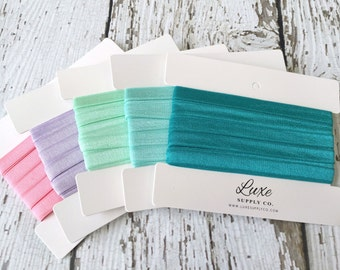 "NEW!! 3/8"" Satin Elastic by the yard for DIY Baby Headbands - 5 yards of 3/8"" Satin Elastic - You Choose the Color"