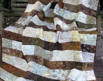 Quilt - Lap Quilt, Sofa Quilt, Quilted Throw, Batik Quilt, - Sophistication in Brown