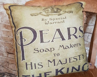 FREE UK POSTAGE Handmade Vintage Style Pears Soap Square Cushion With Or Without Inner